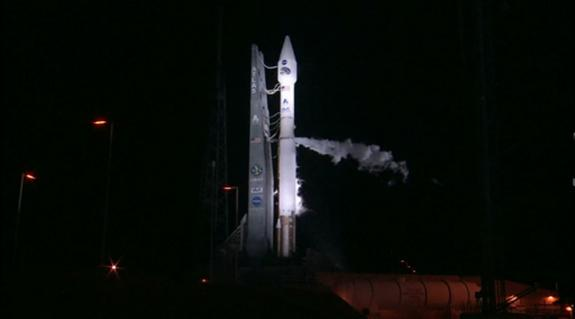 A United Launch Alliance Atlas 5 rocket stands poised to launch NASA's Radiation Belt Storm Probes mission into orbit early on Aug. 25, 2012, from Cape Canaveral Air Force Station in Florida in this still from a NASA video. The launch was delay