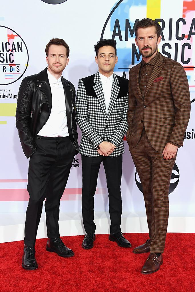 <p>Gwilym Lee, Rami Malek, and Joseph Mazzello attend the 2018 American Music Awards at Microsoft Theater on Oct. 9, 2018, in Los Angeles. (Photo: Steve Granitz/WireImage) </p>