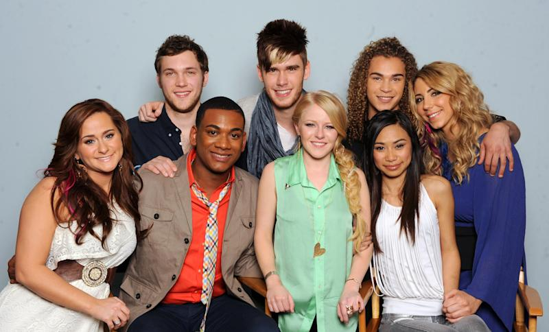 "In this undated image released by Fox, clockwise from left, ""American Idol"" contestants Skylar Laine, Phillip Phillips, Colton Dixon, DeAndre Brackensick, Elise Testone, Jessica Sanchez, Hollie Cavanagh and Joshua Ledet pose in Los Angeles. (AP Photo/FOX, Frank Micelotta)"