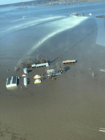 The flooded farm of Richard Oswald is seen in an aerial photo taken near Langdon, Missouri March 20, 2019.  Courtesy of Richard Oswald/Handout via REUTERS.