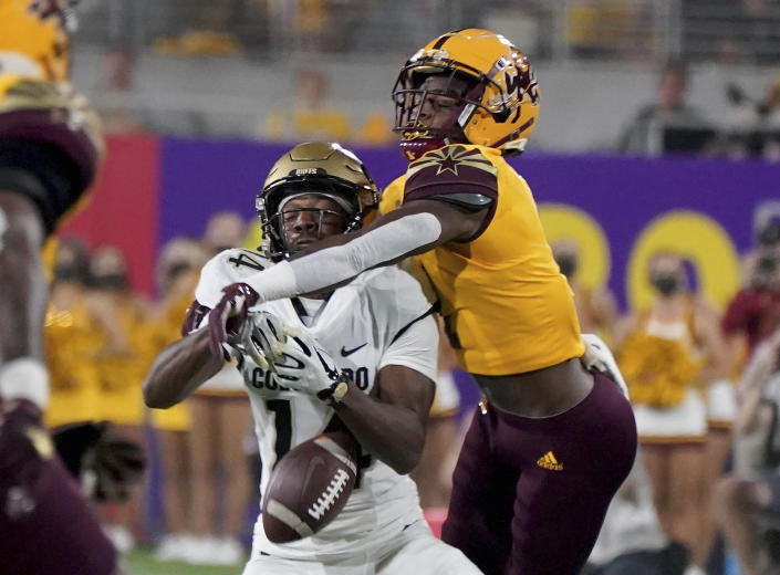 Arizona State defensive back Jordan Clark (1) deflects a pass intended for Colorado State wide receiver Dimitri Stanley (14) during the first half of an NCAA college football game Saturday, Sept 25, 2021, in Tempe, Ariz. (AP Photo/Darryl Webb)