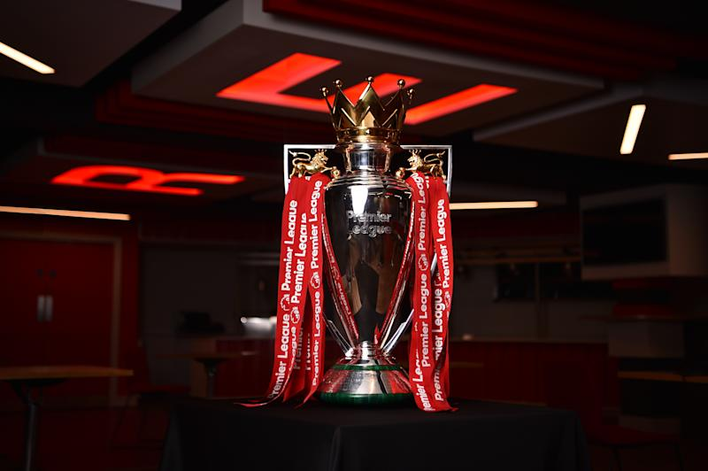 LIVERPOOL, ENGLAND - JULY 28: (THE SUN OUT, THE SUN ON SUNDAY OUT) Liverpool current Premier League trophy at Anfield on July 28, 2020 in Liverpool, England. (Photo by Andrew Powell/Liverpool FC via Getty Images)