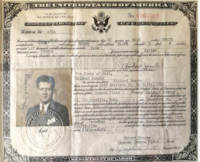 The citizenship papers of Henderson's grandfather. | Courtesy Todd Henderson