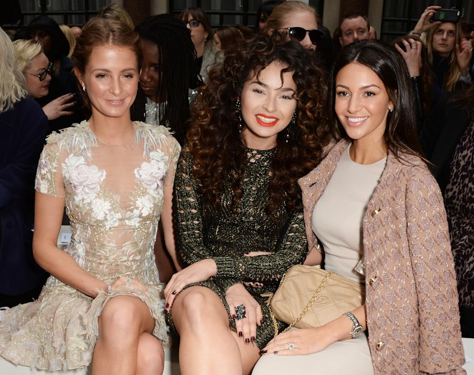 LONDON, ENGLAND - FEBRUARY 21: (L to R) Millie Mackintosh, Ella Eyre and Michelle Keegan attend the Julien Macdonald show during London Fashion Week Fall/Winter 2015/16 at British Foreign and Commonwealth Office on February 21, 2015 in London, England. (Photo by David M. Benett/Getty Images)
