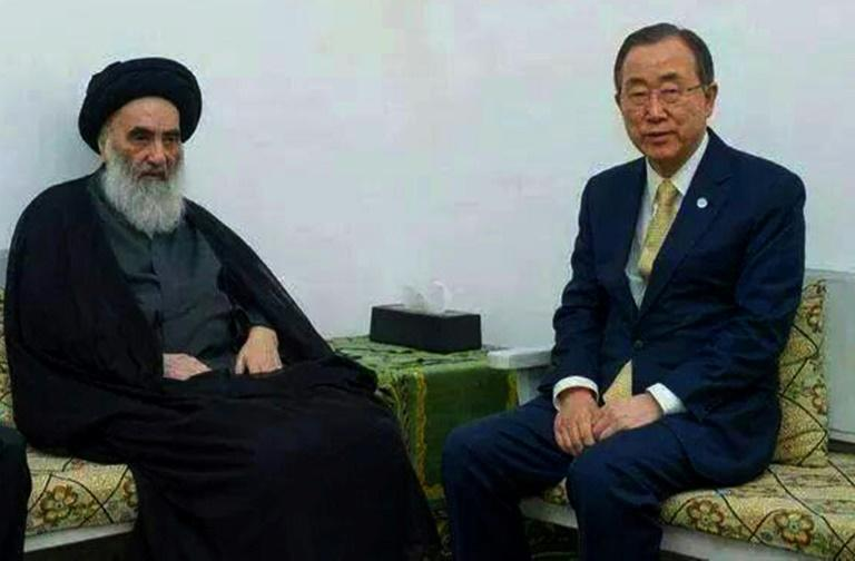 A rare picture of Grand Ayatollah Ali Sistani meeting then UN chief Ban Ki-moon in the Iraqi shrine city of Najaf on July 27, 2014