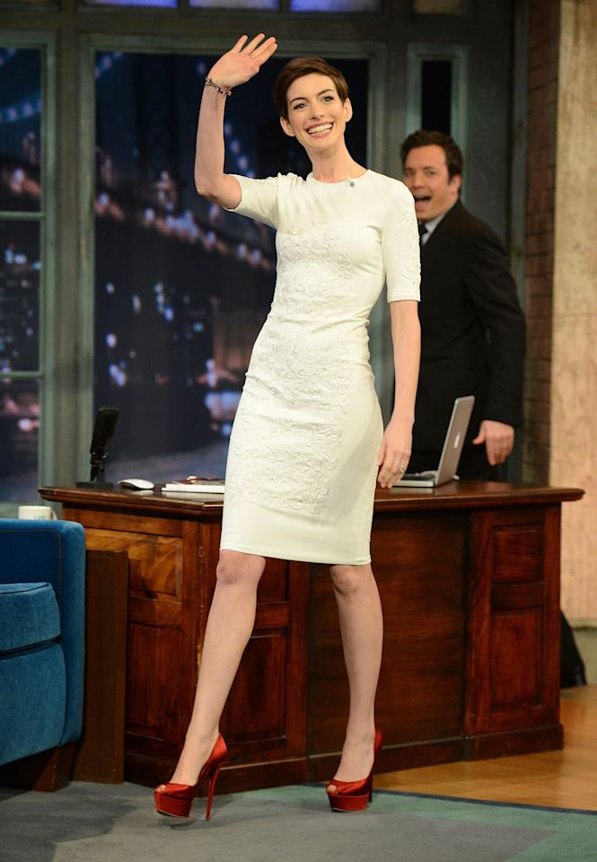 """NEW YORK, NY - DECEMBER 11:  Actress Anne Hathaway visits """"Late Night With Jimmy Fallon"""" at Rockefeller Center on December 11, 2012 in New York City.  (Photo by Jason Kempin/Getty Images)"""