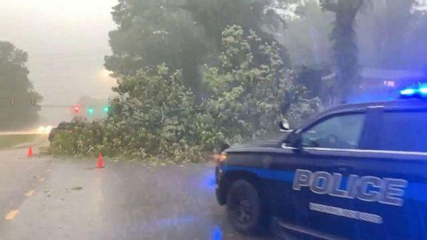 PHOTO: A police vehicle is seen next to a felled tree along a road during floods in Birmingham, Alabama, U.S. May 4, 2021, in this still image obtained from a social media video. Courtesy of @davis_ebbert/Social Media via REUTERS.  (@davis_ebbert/via Reuters)