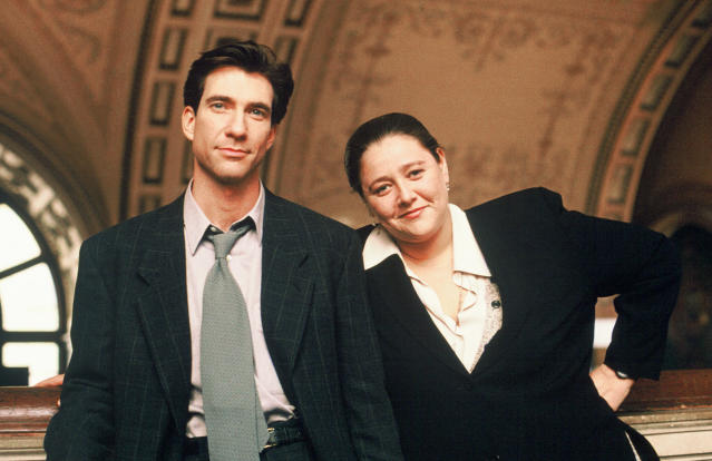 Manheim with Dylan McDermott from <em>The Practice</em>. Manheim won both an Emmy and a Golden Globe for her work on the show. (Photo: ABC Photo Archives/ABC via Getty Images)