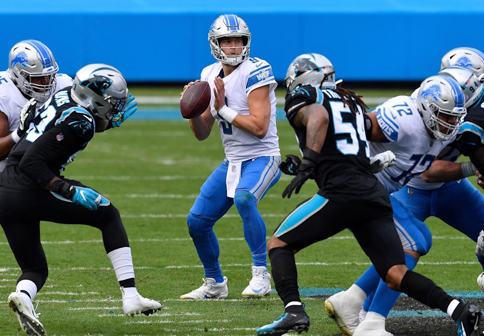 Lions QB Matthew Stafford looks to pass during the first half of the Lions' 20-0 loss to the Panthers on Sunday, Nov. 22, 2020, in Charlotte, North Carolina.