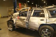 Handout photo of the wreckage of a Chevrolet Trailblazer