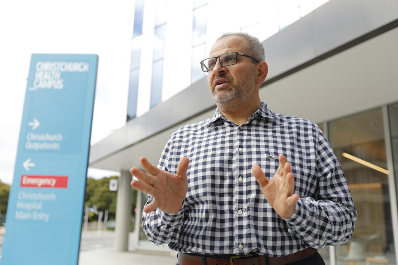 In this Thursday, March 21, 2019, photo, Dr. Adib Khanfer, surgeon of hospital Christchurch speaks during an interview with Associated Press in Christchurch, New Zealand. Khanafer says he was in shock last Friday when he walked into the operating theater and saw a 4-year-old girl on the table who had suffered gunshot wounds so severe she'd been in cardiac arrest for 30 minutes before stabilizing. Khanafer, who is Muslim, knew some of the 50 people killed in last week's attacks at two Christchurch mosques. The surgery was successful, although the girl remains in critical condition. (AP Photo/Vincent Thian)
