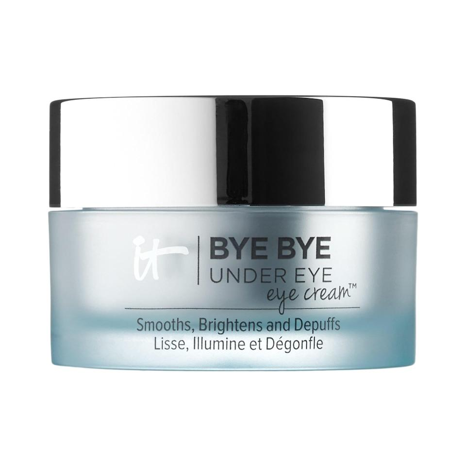 """<p>Hide how many hours you really stayed up watching TV with the collagen and cucumber extract in this <a href=""""https://www.popsugar.com/buy/Cosmetics-Bye-Bye-Under-Eye-Brightening-Eye-Cream-576135?p_name=IT%20Cosmetics%20Bye%20Bye%20Under%20Eye%20Brightening%20Eye%20Cream&retailer=sephora.com&pid=576135&price=34&evar1=bella%3Aus&evar9=47494507&evar98=https%3A%2F%2Fwww.popsugar.com%2Fbeauty%2Fphoto-gallery%2F47494507%2Fimage%2F47494510%2FIT-Cosmetics-Bye-Bye-Under-Eye-Brightening-Eye-Cream&list1=sephora%2Cbeauty%20shopping%2Cbeauty%20sale&prop13=mobile&pdata=1"""" class=""""link rapid-noclick-resp"""" rel=""""nofollow noopener"""" target=""""_blank"""" data-ylk=""""slk:IT Cosmetics Bye Bye Under Eye Brightening Eye Cream"""">IT Cosmetics Bye Bye Under Eye Brightening Eye Cream</a> ($34, originally $48).</p>"""