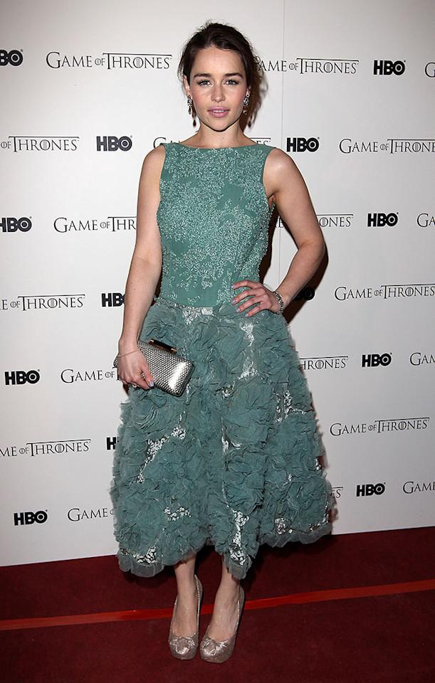 Emelia Clarke attends the DVD premiere of 'Game Of Thrones' at Old Vic Tunnels on February 29, 2012 in London, England.