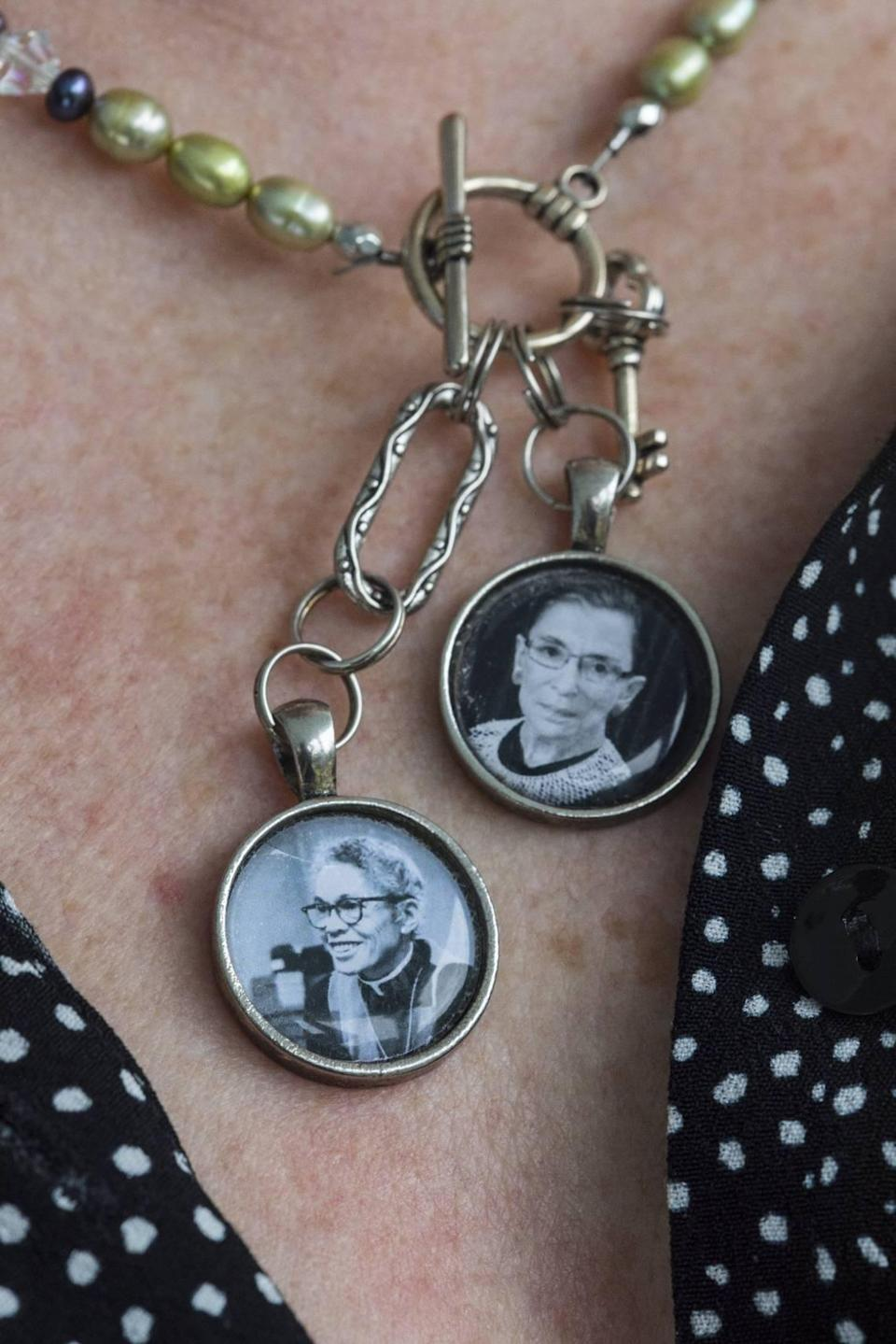 Barbara Lau wears a necklace with images of Pauli Murray and Ruth Bader Ginsburg, pictured here on Tuesday, Sept. 21, 2021 at the Pauli Murray Center for History and Social Justice in Durham, N.C.