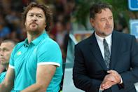<p>Australian assistant basketball coach Luc Longley (left) and Academy Award-winning actor Russell Crowe (right). </p>
