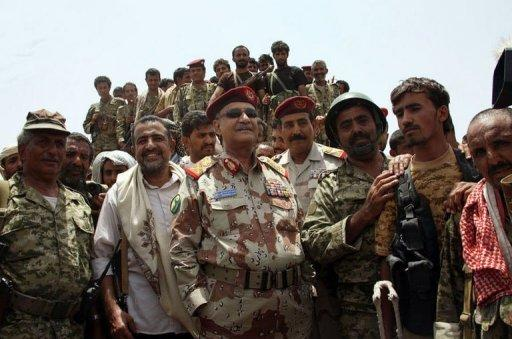 Yemeni Defence Minister General Mohammed Nasser Ahmed (centre) oversees a military operation against Al-Qaeda in the southern Abyan province. The Yemeni army has seized the Al-Qaeda strongholds of Jaar and Zinjibar, more than a year after the jihadists captured most of Abyan province