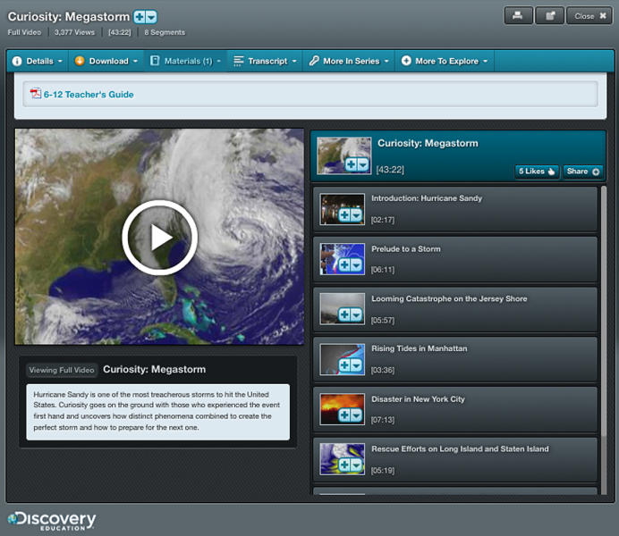 "This product image provided by Discovery shows a science lesson on Superstorm Sandy for students in grades six through high school. Discovery's lessons _ branded ""Techbooks"" run on laptops, desktops, iPads or other tablets. (AP Photo/Discovery)"
