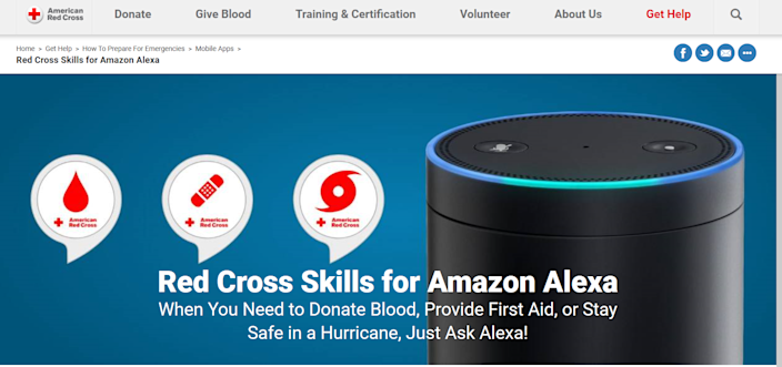 Your Amazon-powered smart speaker can help you in an emergency. Using the free American Red Cross skill, ask your speaker for advice on treating a burn, for example. Plus, you can opt in for hurricane warnings.