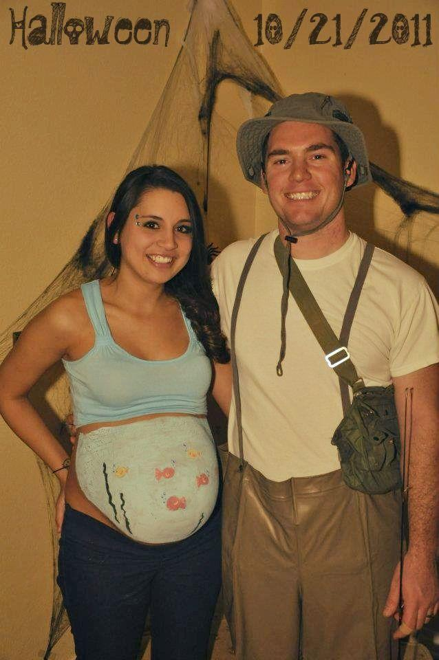 """<p>Finding yourself too far along to fit into <em>anything</em>? Rope your spouse into a fishing-themed costume and paint your bump to look like an under-the-sea scene. Fishing hook props are a plus. </p><p><strong>Get the tutorial at <a href=""""http://lovesparklepretty.blogspot.com/2011/10/happy-halloween-from-fishbowl-fisherman.html"""" rel=""""nofollow noopener"""" target=""""_blank"""" data-ylk=""""slk:Love Sparkle Pretty"""" class=""""link rapid-noclick-resp"""">Love Sparkle Pretty</a>.</strong> </p>"""