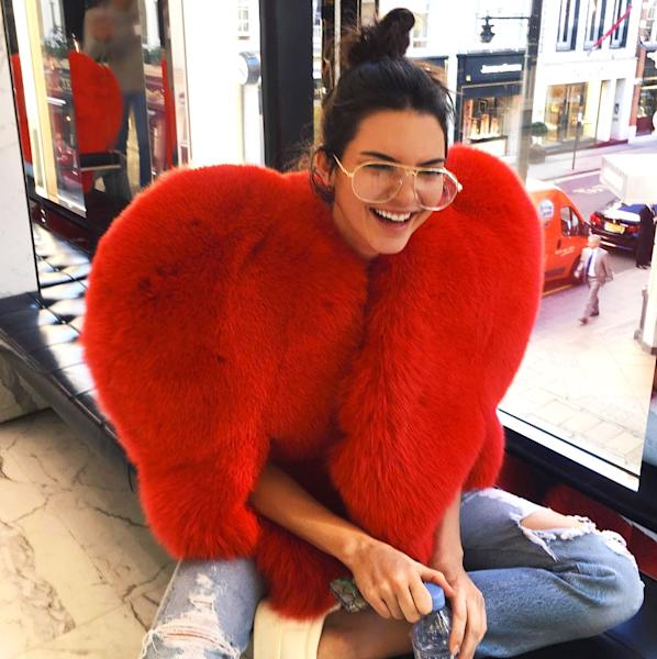 After Kim K.'s robbery, Kendall Jenner wore a heart-shaped fur in a Thursday, October 6, Instagram, the same as Rihanna's — tell Us who wore it best