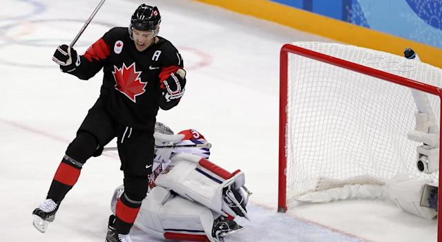 Rene Bourque finished with three goals in the preliminary round. (Getty)