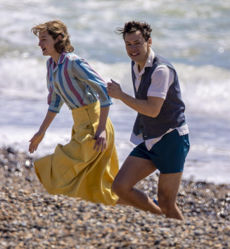 <p>Harry Styles and Emma Corrin hit the beach in England on Thursday while continuing to film <em>My Policeman.</em></p>
