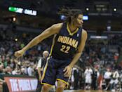 Indiana Pacers' Chris Copeland sinks the game-winning shot against the Milwaukee Bucks during the second half of an NBA basketball game on Wednesday, April 9, 2014, in Milwaukee. The Pacers defeated the Bucks 104-102. (AP Photo/Tom Lynn)
