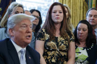 <p>Victims of human trafficking, family members, and lawmakers listen as President Donald Trump speaks in the Oval Office at the White House before signing a new law aimed at curbing six trafficking Wednesday, April 11, 2018, in Washington. (AP Photo/Evan Vucci) </p>