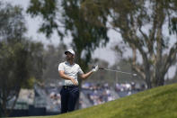 Matthew Wolff watches his shot from the seventh fairway during the first round of the U.S. Open Golf Championship, Thursday, June 17, 2021, at Torrey Pines Golf Course in San Diego. (AP Photo/Gregory Bull)