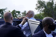 Democratic presidential candidate former Vice President Joe Biden gets into his motorcade after speaking to people outside a campaign victory center, Thursday, Oct. 29, 2020, in Fort Lauderdale, Fla. (AP Photo/Andrew Harnik)