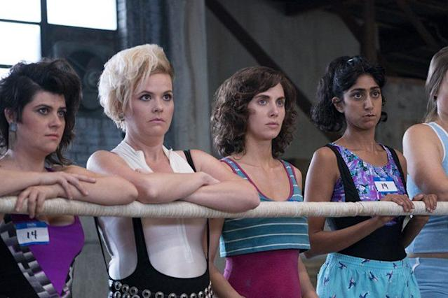 Johnson, Gatewood, Alison Brie, and Sunita Mani in 'GLOW' (Photo: Netflix)