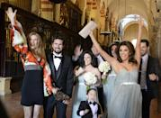 <p>Nearly stealing the show in a frothy blue dress at friend Alina Peralta's wedding. <i>(Photo by Europa Press/Europa Press via Getty Images)<br></i></p>