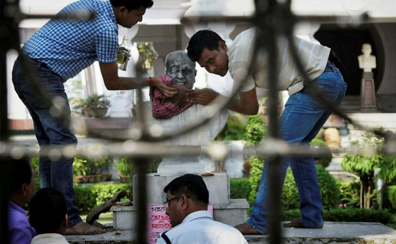 Meanwhile, the bust of Jana Sangh founder Shyama Prasad Mookherjee was found defaced on Wednesday morning in Kolkata.