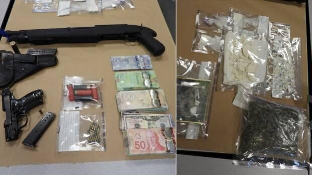 Surrey RCMP arrrested two 16-year-old males and seized drugs, guns and money from a dial-a-dope operation being run out of a Whalley condo tower. (Surrey RCMP - image credit)