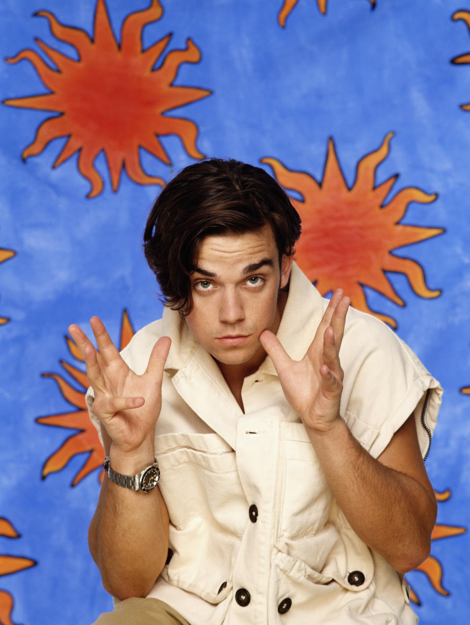 Singer Robbie Williams of English boy band Take That, circa 1994. (Photo by Tim Roney/Getty Images)