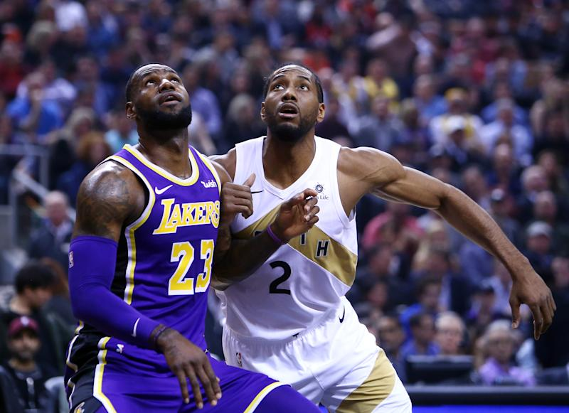 LeBron James opened up on the recruitment process of Kawhi Leonard ahead of Tuesday's Lakers-Clippers game. (Vaughn Ridley/Getty Images)