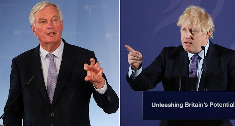 European Brexit negotiator Michel Barnier, left, and UK Prime Minister Boris Johnson delivering their speeches on Monday. Photo: Adam Berry/Frank Augstein - WPA Pool/Getty Images
