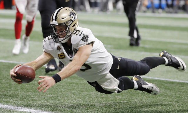 Drew Brees had another amazing day in his legendary career in a big overtime win over the Falcons. (AP)