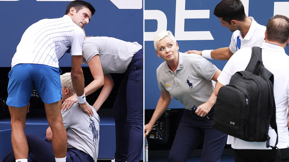 Novak Djokovic, pictured here after hitting a line judge with a ball at the US Open.
