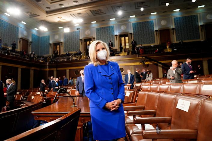 Rep. Liz Cheney (R-WY) waits for the arrival of President Joe Biden before he addresses a joint session of Congress in Washington, U.S., April 28, 2021.   Melina Mara/Pool via REUTERS