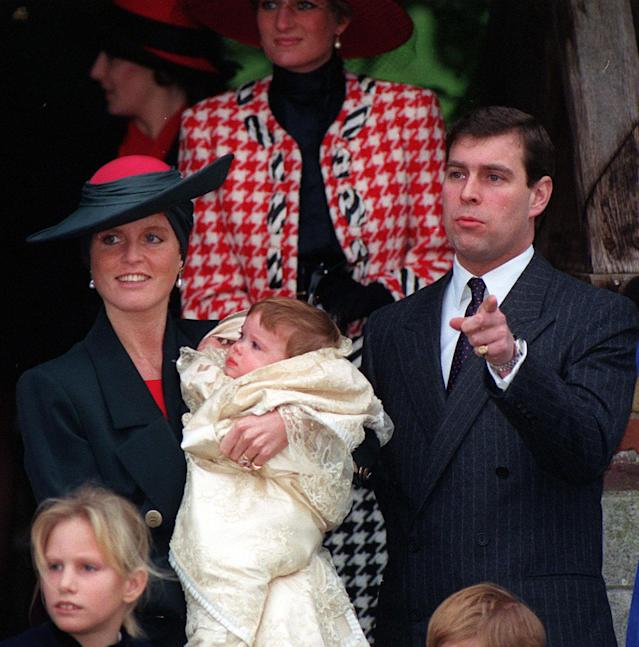 The Duchess of York with baby Princess Eugenie after her christening at Sandringham Church in 1990. (Press Association)
