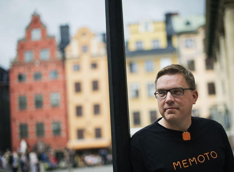 Co-founder and CEO of Swedish company Memoto, Martin Kaellstroem, wearing with a clip on his shirt the life-logging Memoto camera in Stockholm's old town on August 29, 2013. When Martin Kaellstroem was a young adult, he lost both his parents to cancer. It became a spur for him to seize the day, as a person and an entrepreneur