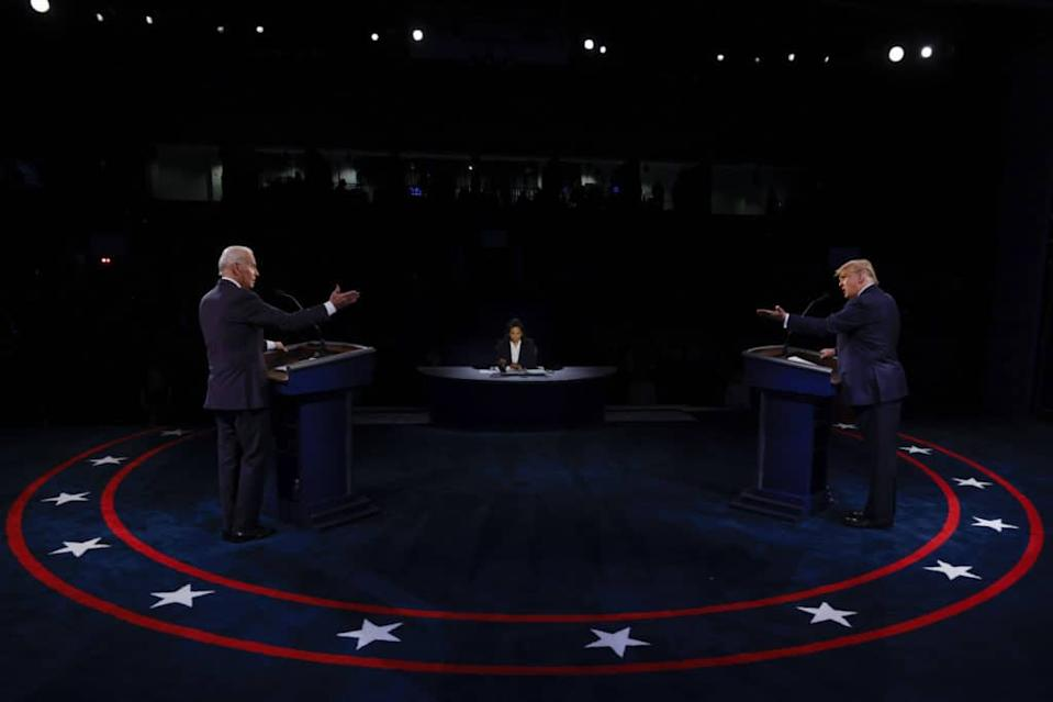 Joe Joe Biden and Donald Trump sparred over Black Lives Matter during the final debate before the election. (Jim Bourg-Pool/Getty Images) and Donald Trump's final sparring match saw LGBT+ rights once agains not spoken about. They haven't since 2008, a top monitoring group warns. (Jim Bourg-Pool/Getty Images)
