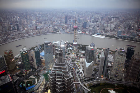 FILE PHOTO: A view of the city skyline from the Shanghai Financial Center building