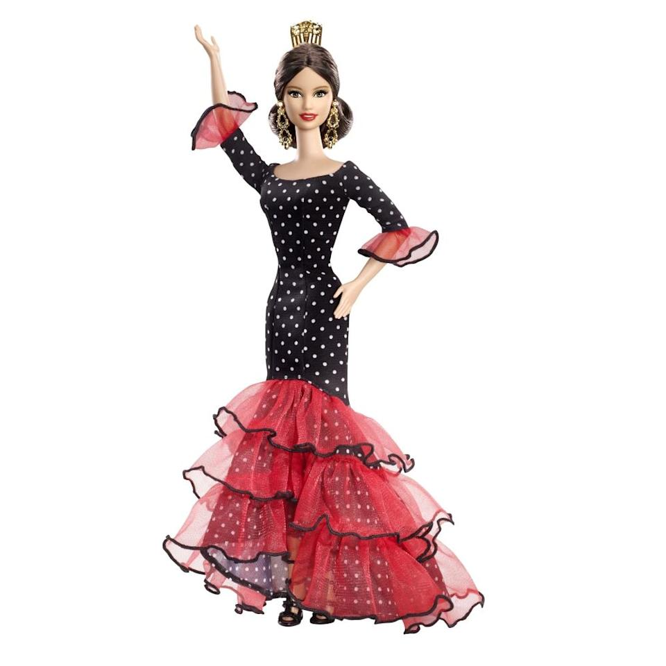 """<div class=""""caption-credit"""">Photo by: Mattel.com</div><b><div class=""""caption-title"""">Spain Barbie</div></b>Mattel has been dressing its Spain Barbies in flamenco gowns since 1983, though this 2012 version has lost her mantilla and fan. <br> <br> <b>Also on Shine:</b> <br> <a href=""""http://shine.yahoo.com/photos/pretty-pink-barbie-cafe-opens-slideshow/-photo-2576548-185600832.html"""" data-ylk=""""slk:PHOTOS: New Barbie Cafe Opens In Taiwan;outcm:mb_qualified_link;_E:mb_qualified_link;ct:story;"""" class=""""link rapid-noclick-resp yahoo-link"""">PHOTOS: New Barbie Cafe Opens In Taiwan</a> <br> <a href=""""http://shine.yahoo.com/photos/10-barbies-careers-youll-want-slideshow/"""" data-ylk=""""slk:10 of Barbie's Careers You'll Want Your Daughter to Look Up to;outcm:mb_qualified_link;_E:mb_qualified_link;ct:story;"""" class=""""link rapid-noclick-resp yahoo-link"""">10 of Barbie's Careers You'll Want Your Daughter to Look Up to</a> <br> <a href=""""http://shine.yahoo.com/parenting/a-barbie-with-natural-looking-african-american-hair-how-to-make-it-yourself-2599135.html"""" data-ylk=""""slk:A DIY Barbie with Natural-Looking African-American Hair;outcm:mb_qualified_link;_E:mb_qualified_link;ct:story;"""" class=""""link rapid-noclick-resp yahoo-link"""">A DIY Barbie with Natural-Looking African-American Hair</a> <br>"""