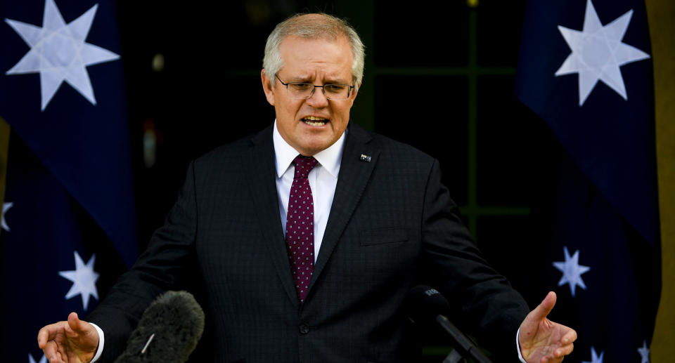 Australian Prime Minister Scott Morrison speaks to the media during a press conference in Canberra, Thursday, July 22, 2021. Source: AAP
