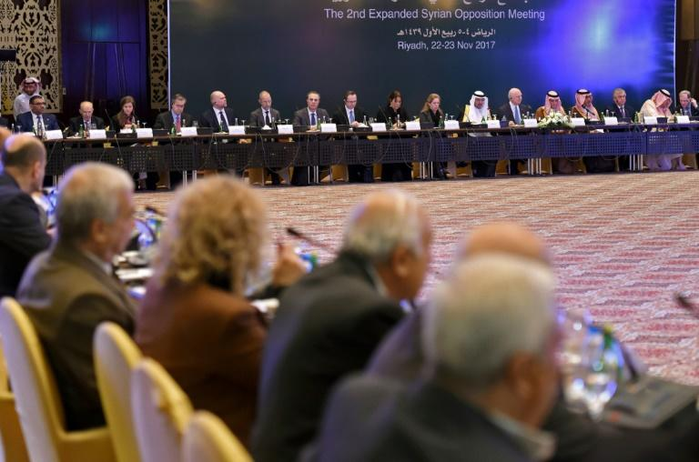 Members of Syrian opposition groups attending a meeting in the Saudi capital Riyadh