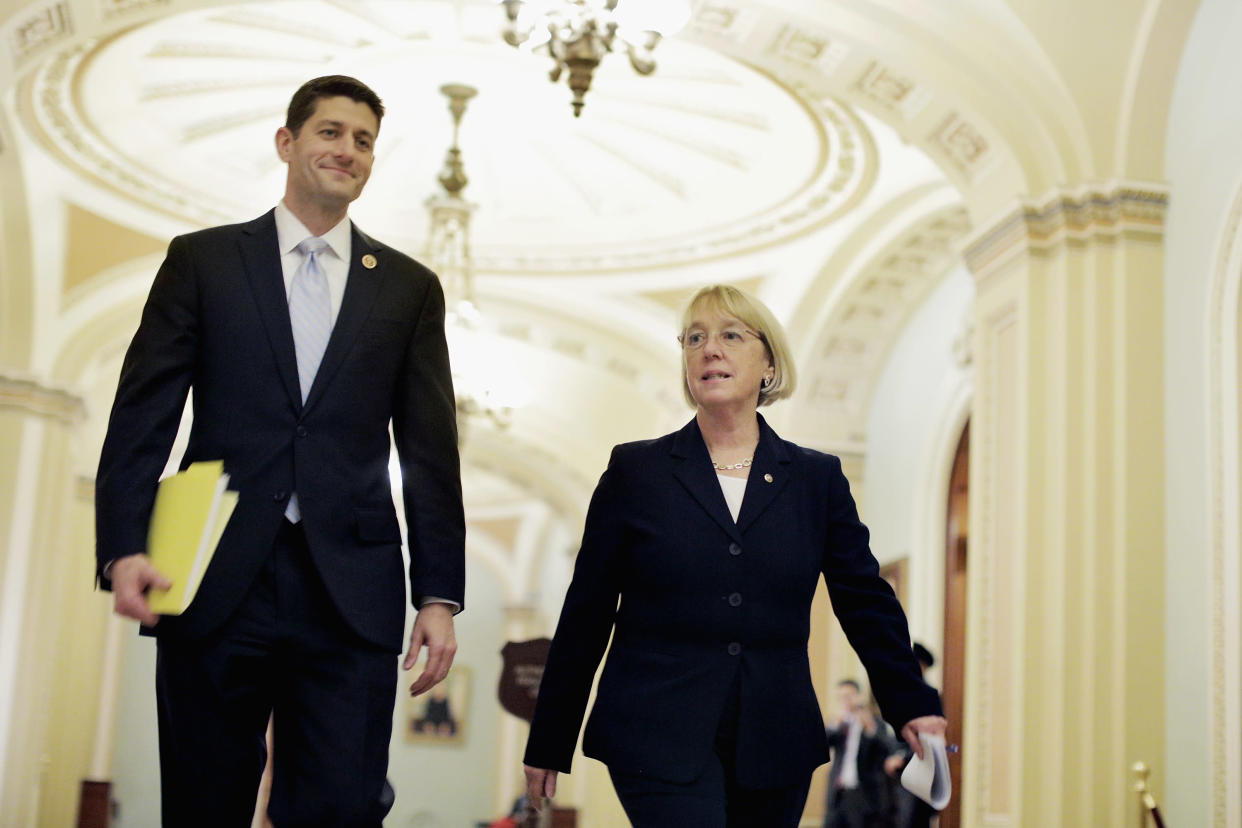 Ryan in December 2013, when he was chairman of the House Budget Committee, and Senate Budget Committee Chairman Patty Murray, D-Wash., walk to a press conference to announce their bipartisan budget deal. (Photo: T.J. Kirkpatrick/Getty Images)