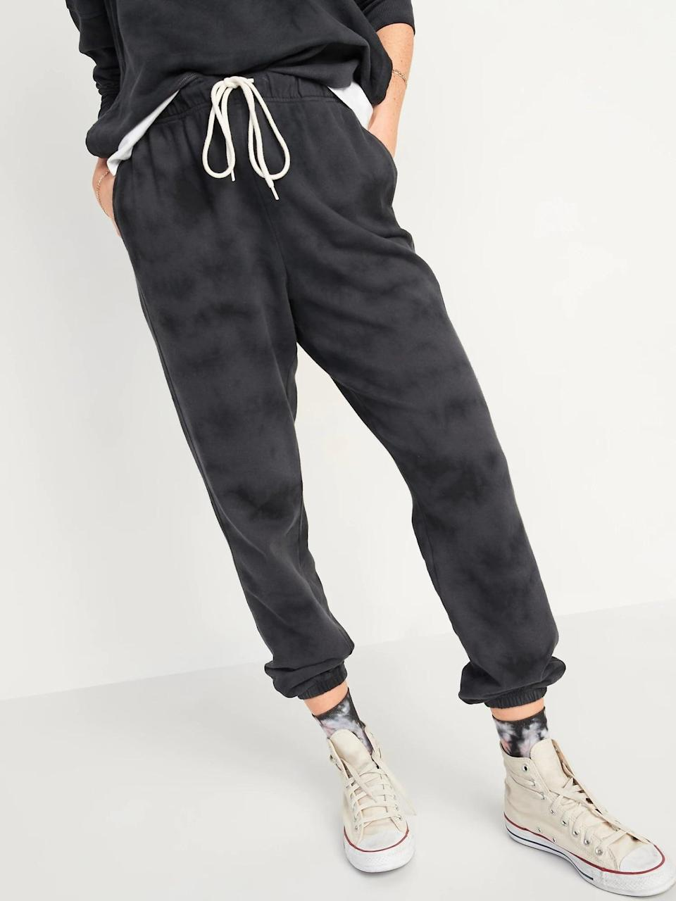 <p>A black-and-gray tonal tie-dye pair of <span>Old Navy Extra High-Waisted Vintage Specially Dyed Sweatpants</span> ($18, originally $35) makes a nice switch up for either solid color.</p>