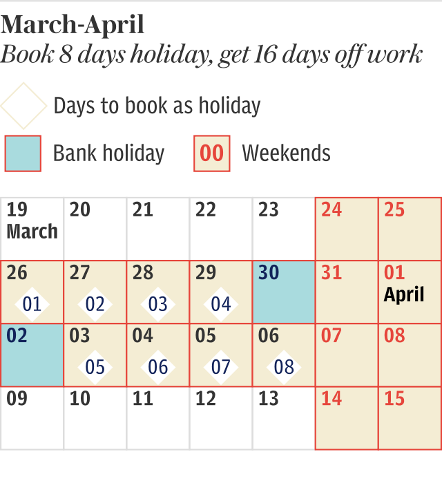March-April 2018 Holiday calendar
